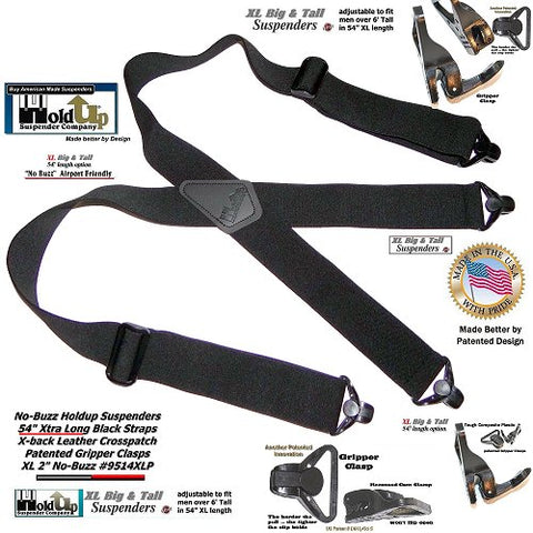 "Holdup brand No-Buzz 2"" wide airport friendly X-back suspenders with patented Gripper Clasps"
