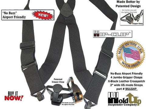 Holdup Brand Under-Up all black No-alarm airport friendly suspenders that attach at the side of your pants with 2 Patented Jumbo Gripper Clasps.