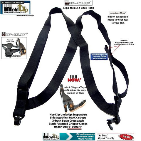 Holdup Hidden all black undergarment side clip suspender with no-alarm Gripper clasps so they're airport friendly