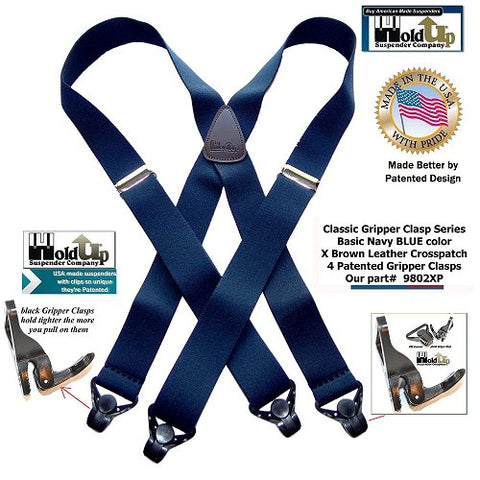 Classic Series Goldup Blue X-back suspenders in big and tall size are made in the USA by Holdup Suspender Company