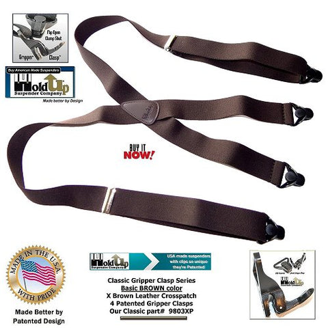 Classic Series X-back  BROWN Colored bargain priced Holdup suspenders with Black Strong Patented Black Gripper clasps are made in the USA