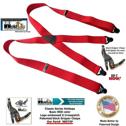Classic Holdup X-back Bright RED suspenders with patented black Gripper Clasps that are made in the USA.