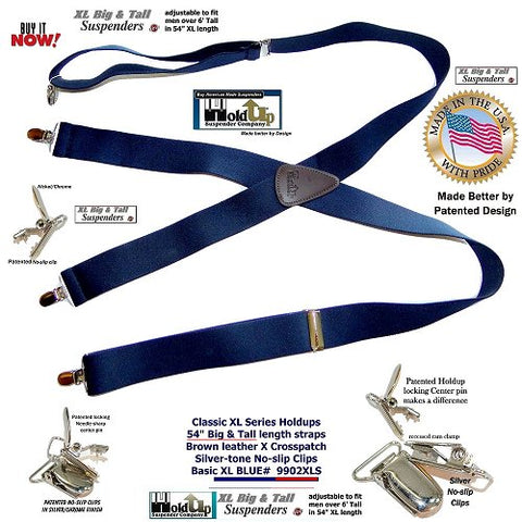 XL Classic Dark blue X-back Holdup suspenders adjustable for men over 6 feet tall