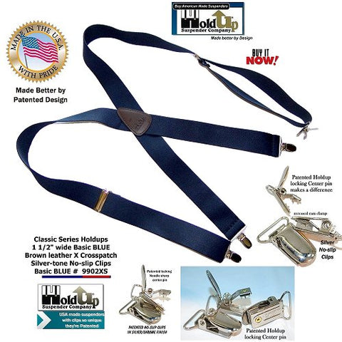 Classic Series X-back Holdup clip-on suspenders with patented Silver-tone center pin type no-slip clips