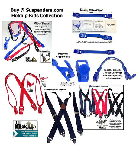 Holdup Suspender Company makes Kids suspenders and specialty products for Infants and children like Mitten straps