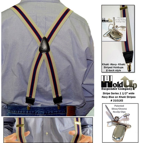 USA made Stripe Series Holdup X-back suspenders with patented silver-tone no-slip clips