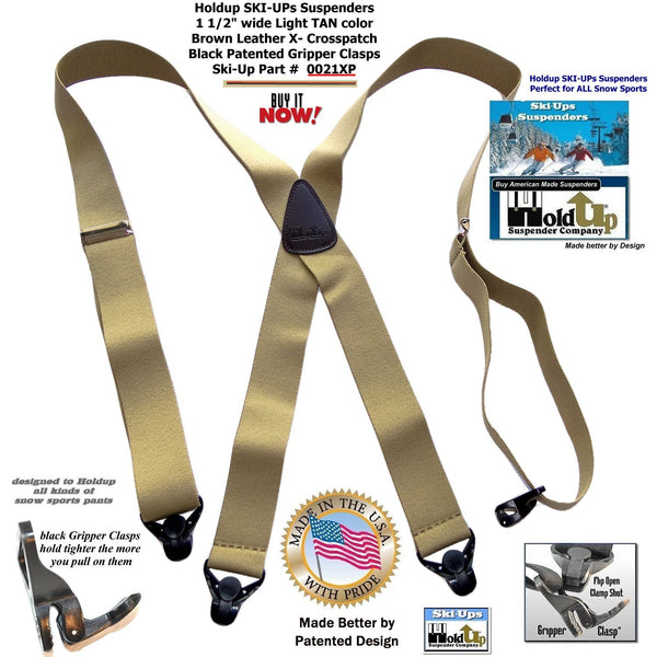 "HoldUp Brand Tan X-Back Snow Ski-up Suspenders 1 1/2"" Wide with Patented Black Gripper Clasp"