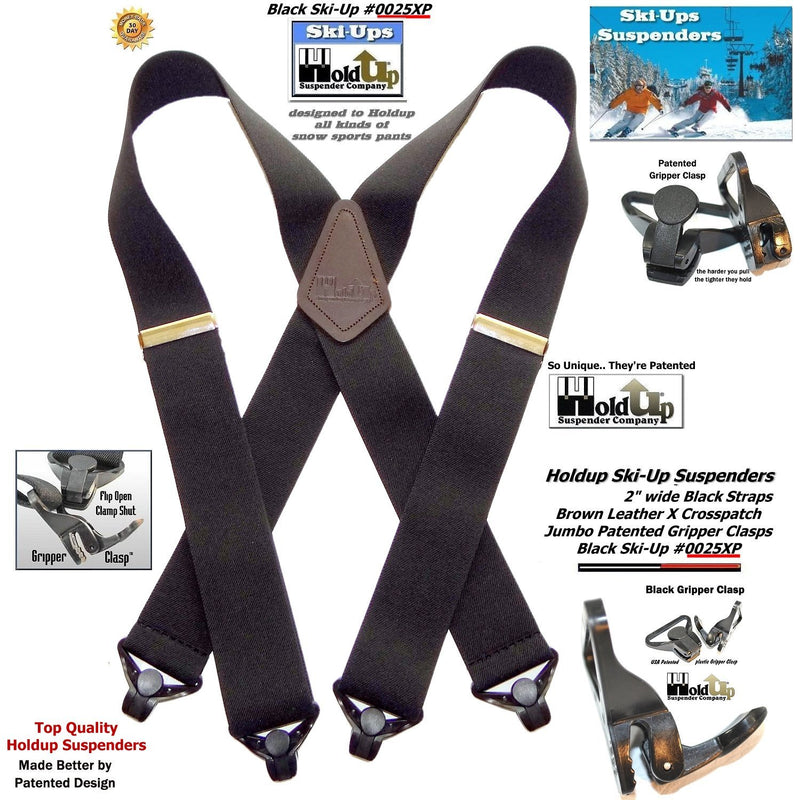 "HoldUps Brand Black X-Back Snow Ski-Up Suspenders 2"" Wide with Patented Gripper Clasps"