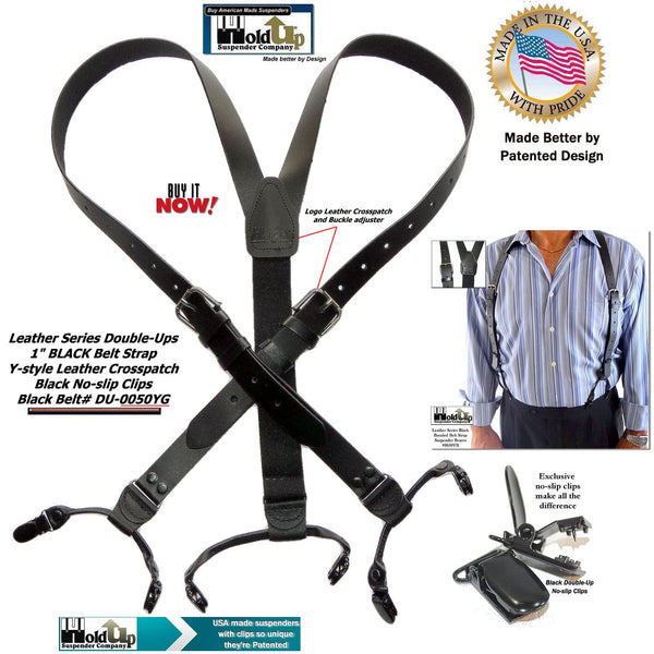 "Hold-Ups 1"" Wide Black Belt Strap Style Genuine Bonded Leather Y-back Suspenders with no-slip clips"