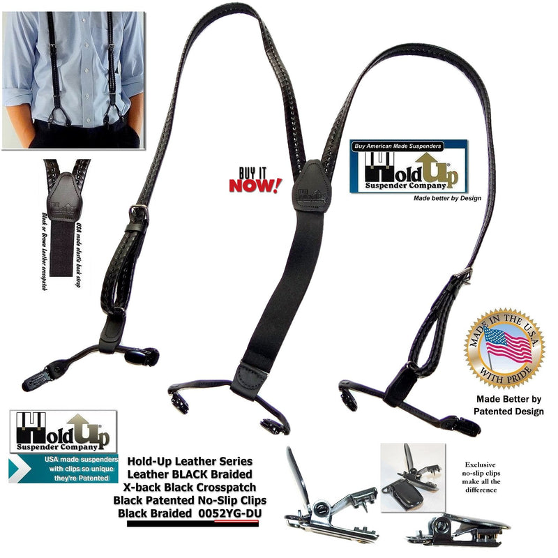 HoldUp Brand Black Braided Leather Suspenders in Double-Up style with black No-slip clips