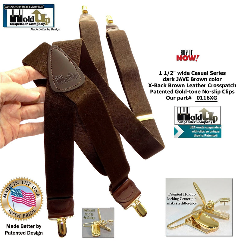 HoldUp Brand dark Java Brown X-back Men's Suspenders with Patented No-slip Gold-tone Clips
