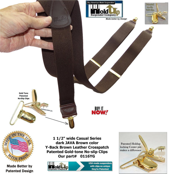Dark Java Brown Casual Series Holdup Y-back Suspenders with Patented No-slip Gold-tone Clips