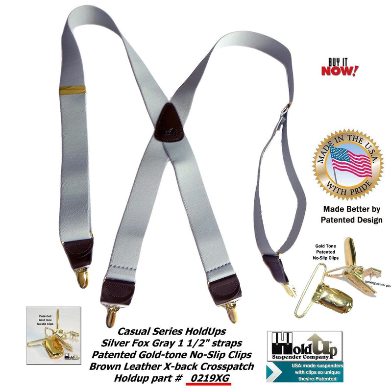"HoldUp Brand Silver Fox Light Gray 1 1/2"" wide X-back Suspenders with Patented Goldup-tone no-slip Clips"
