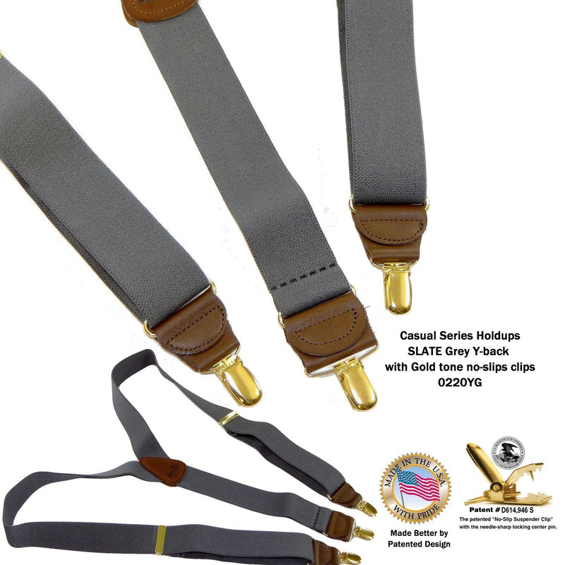 "Men's Dark Slate Grey 1 1/2"" wide Holdup Suspenders with Brown leather Y-back crosspatch and Patented No-slip Gold tone Clips"
