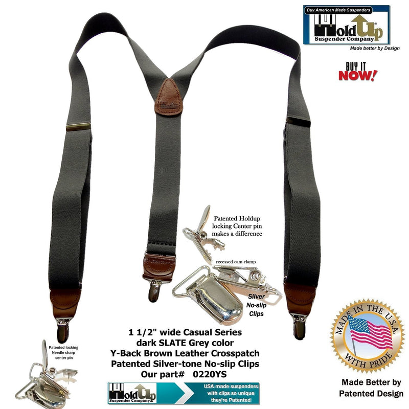 HoldUp Suspender Dark Slate Gray Y-back Suspenders with Patented No slip Silver Clips