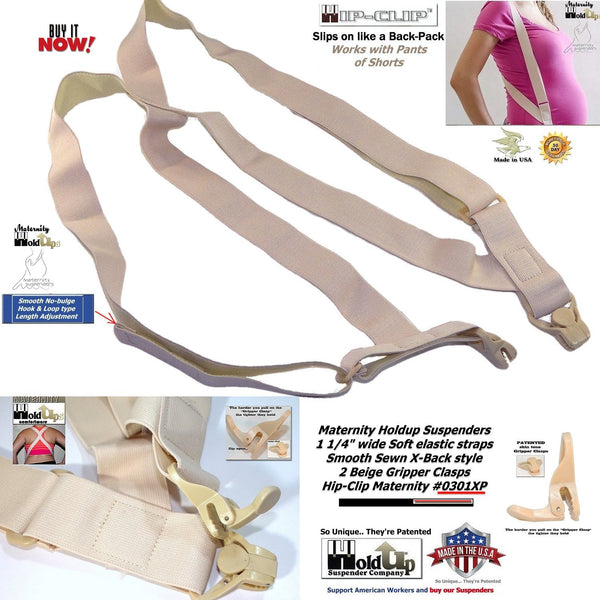 Holdup Brand Hidden Maternity side-clip beige Suspenders with Patented Plastic Gripper Clasps