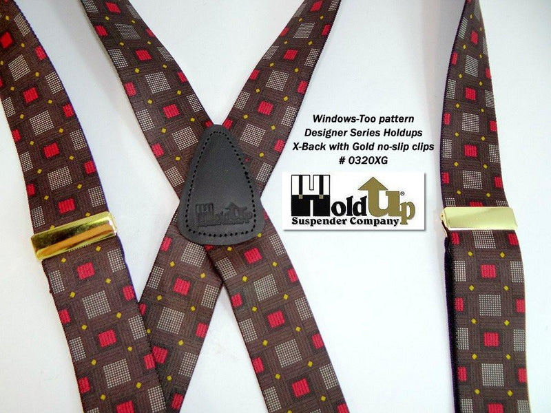 "Hold-Ups Windows Too Pattern X-back 1 3/8"" wide Susprnders with Patented No-slip Gold Clips"