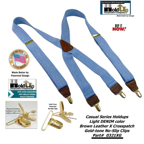 "Hold-Ups Light Blue Denim 1 1/2"" Suspenders X-Back Patented No-slip Gold Clips"