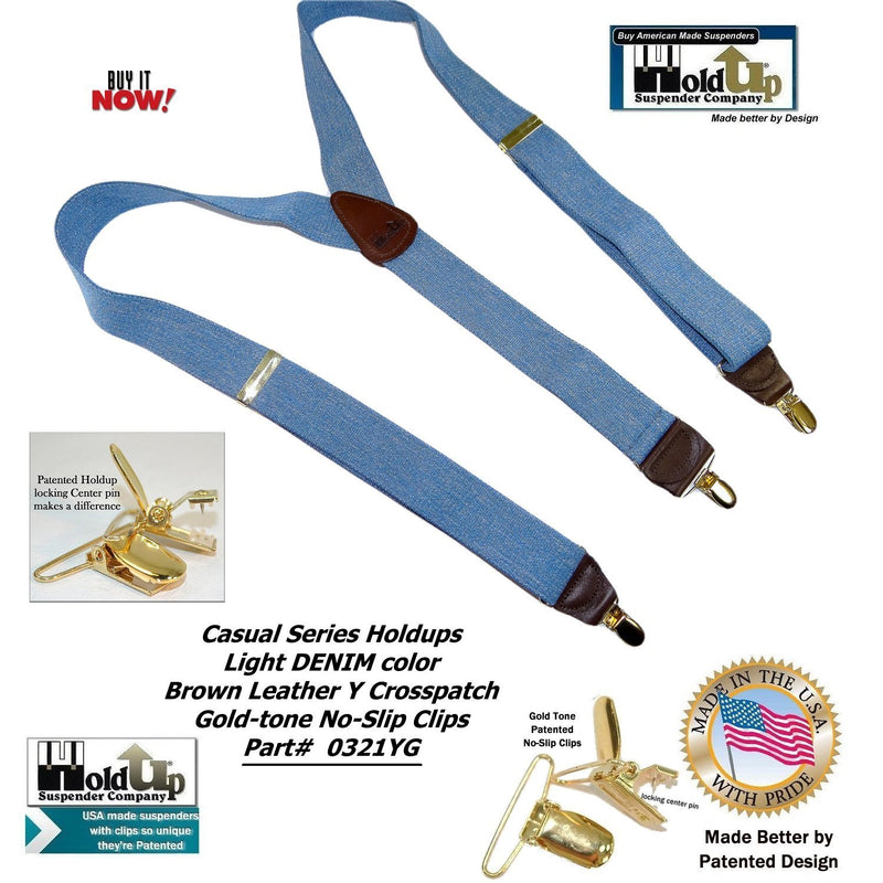 "Holdup Suspender Company's Light Blue Denim Y-back Suspenders 1 1/2"" width with Patented No-slip Gold-tone Clips"