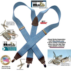 Holdup Light Blue Denim Suspenders Y-back men's suspenders with Patented No-slip Silvertone Clips