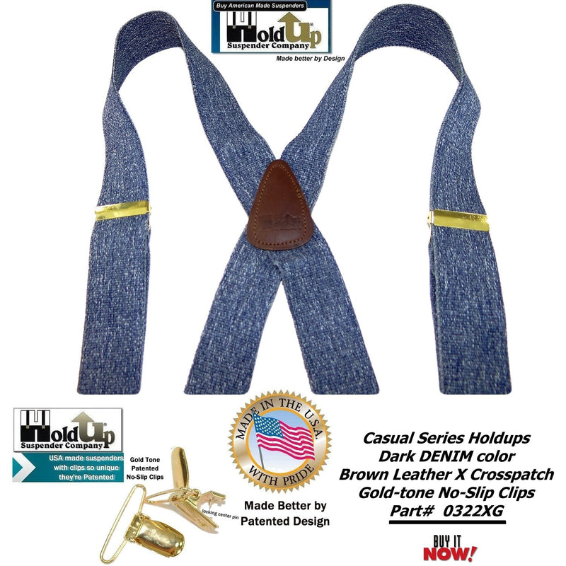Holdup Brand USA made Dark Blue Denim Casual Series Suspenders in X-back style with Patented No-slip Gold-tone Clips