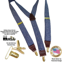"Holdup Suspensder Y-back Dark Blue Denim Suspenders are 1 1/2"" wide and these feature Gold tone Patented No-slip Clips"