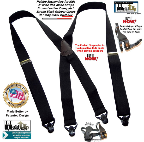"Holdup Brand 36"" Kids Red X-back Suspenders with Patented Gripper Clasps"