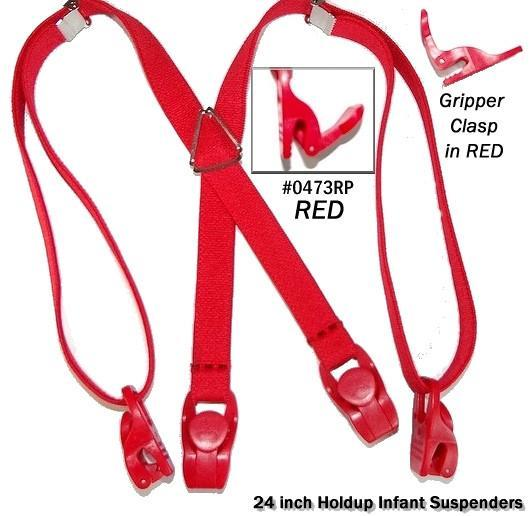 "Hold-Ups 24"" Infant Red Suspenders with Matching Patented Gripper Clasps"