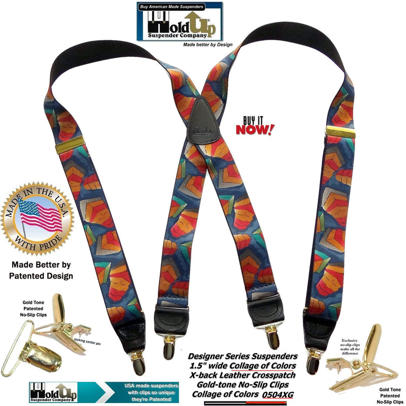Holdup Collage of Colors Pattern X-back Suspenders and Patented No-slip Gold tone Clips
