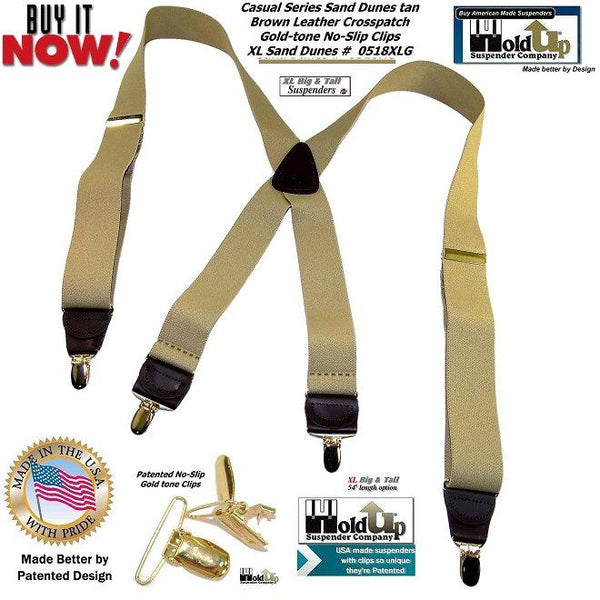 HoldUp Brand XL Tan Casual Series Suspenders in X-back and Patented Gold Clips for the big and tall man