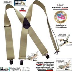 Holdup Brand Extra Long XL Light Sun Tan Suspenders with Patented No-slip Jumbo Silver Clips