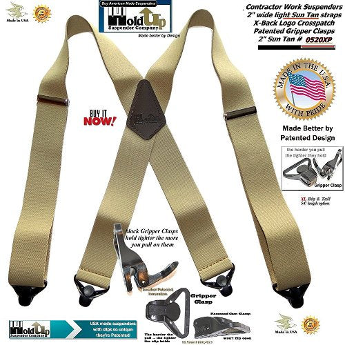 "Holdup Heavy Duty Sun Tan Color 2 "" wide X-back Suspenders with black patented Gripper Clasps"