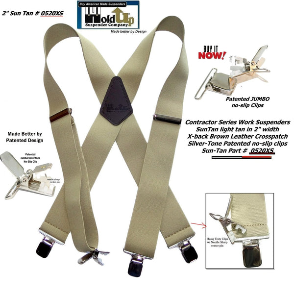 "Holdup Brand Contractor Series 2"" Wide Light Sun Tan Work X-back Suspenders with Patented No-slip Silver Clips"