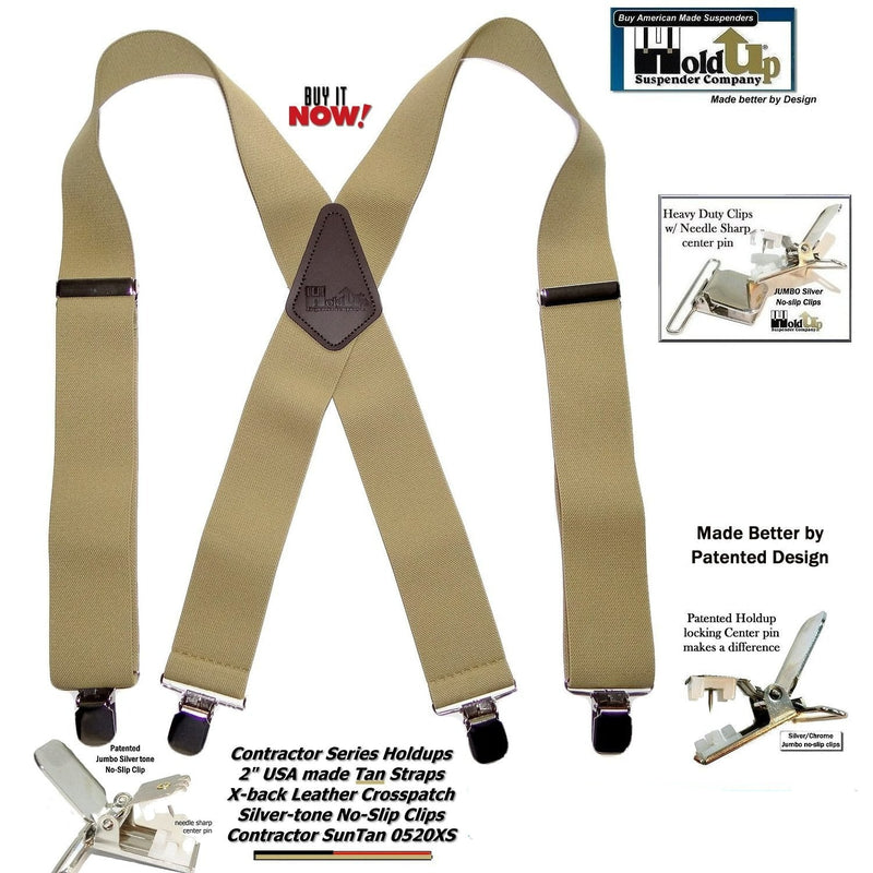 "Holdup Brand Contractor Series 2"" Wide Light Sun Tan Work Suspenders, in X-back style with Patented No-slip Silver Clips"