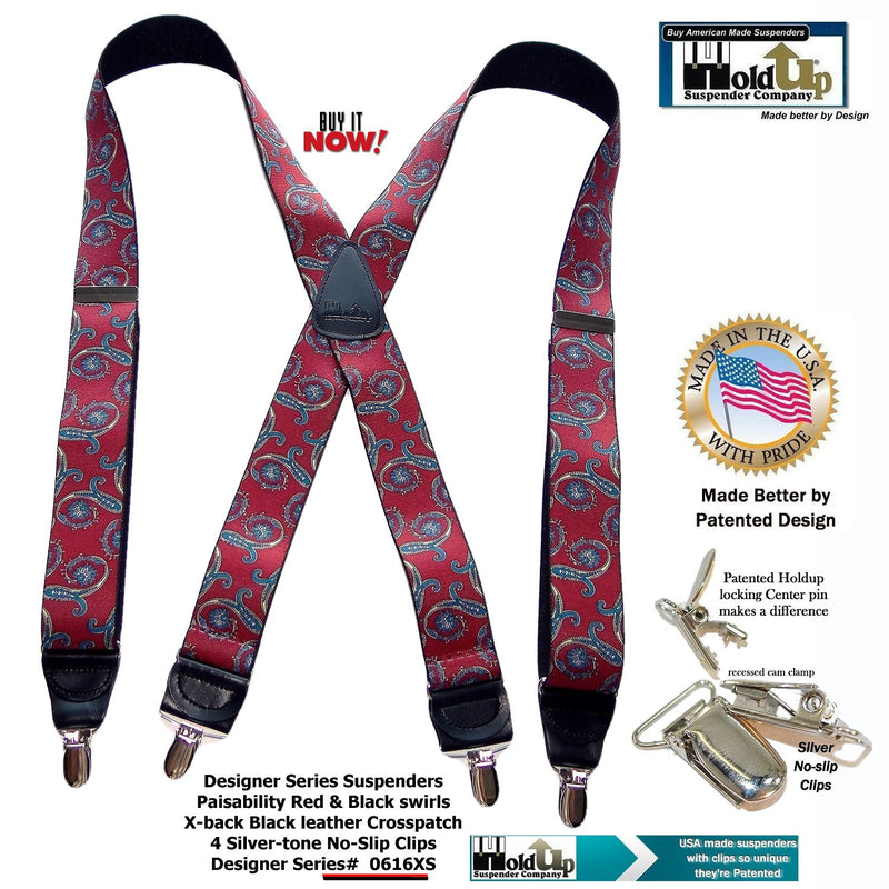 HoldUp Red Paisley Pattern Suspenders in X-back and Patented No-slip Silver Clips