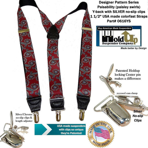 HoldUp Brand Red and black swirl Paisley Pattern Suspenders in Y-back style with Patented No-Slip Silver Clips
