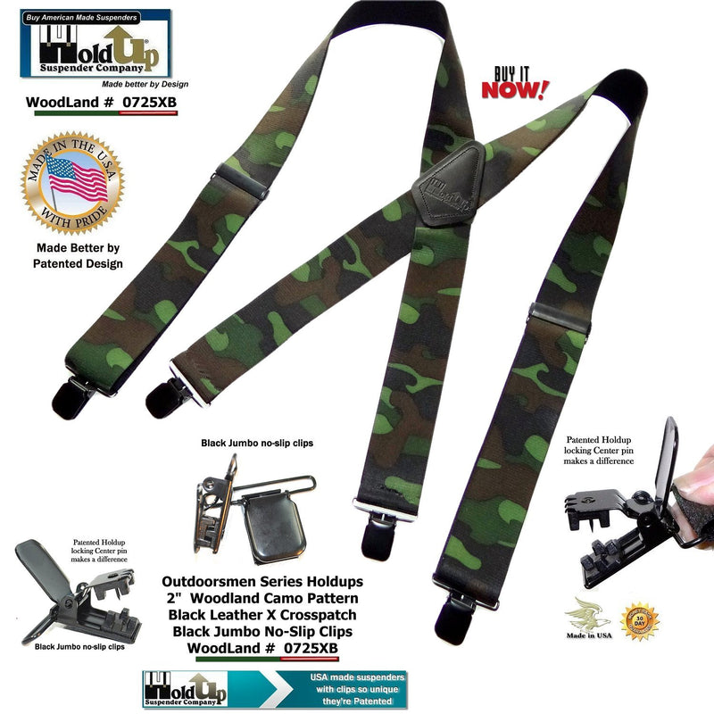 "Hold-Ups 2"" Wide Woodland Camouflage Hunting Suspenders w/ Patented No-slip Clips"