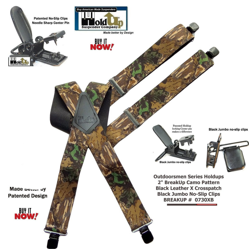 "Hold-Up Trademarked Breakup Camo Pattern 2"" Wide Suspenders X-Back Patented black No-slip Clips"