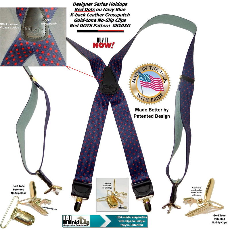 HoldUp Red Polka Dot on Blue Pattern X-back Suspenders with Gold-tone no-slip clips