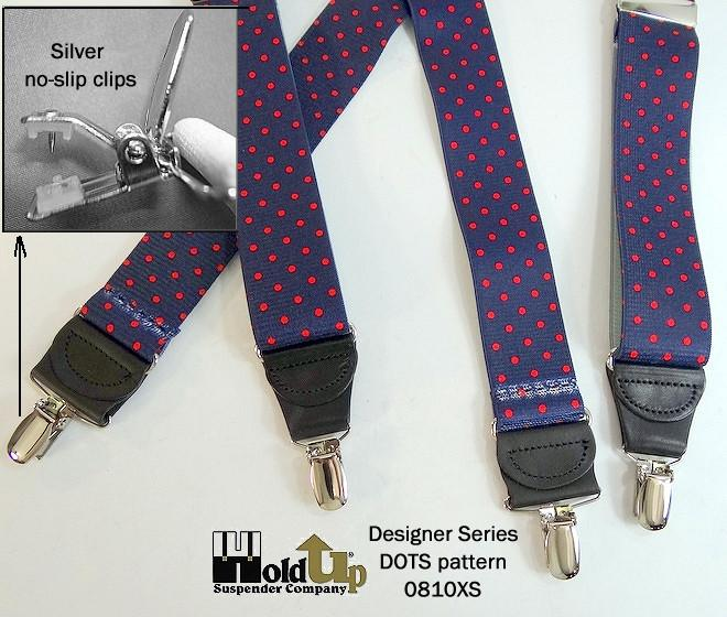 HoldUp Brand Blue with Red Dot Pattern X-back Designer Suspenders with Patented No-slip Silver Clips