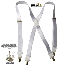 "Hold-Ups X-back 1"" wide Formal Satin Finish White Suspenders with Patented No-slip Silver Clips"