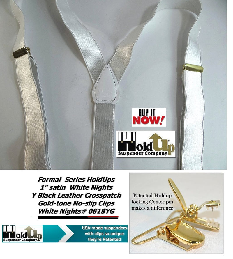"Hold-Ups 1"" wide Y-back Formal Satin Finish White Suspenders w/ Patented No-slip Gold Clips"