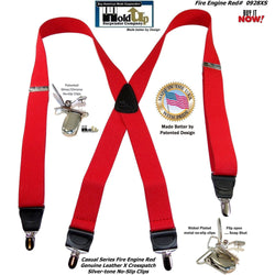 "HoldUp Brand Fire Engine Red X-back Suspenders in 1 1/2"" width and Patented No-slip Silver-tone Clips"
