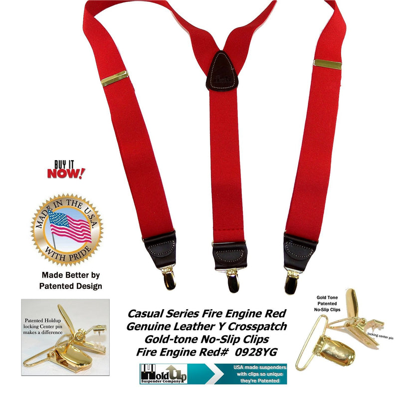 "Hold-Ups Red Casual series 1 1/2"" wide Suspenders Y-back with Patented No-slip Gold Clips"