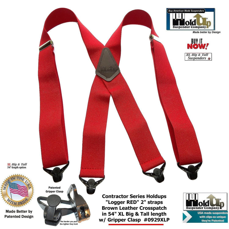 Extra Long XL Logger RED Holdup work Suspenders with Patented Gripper Clasps