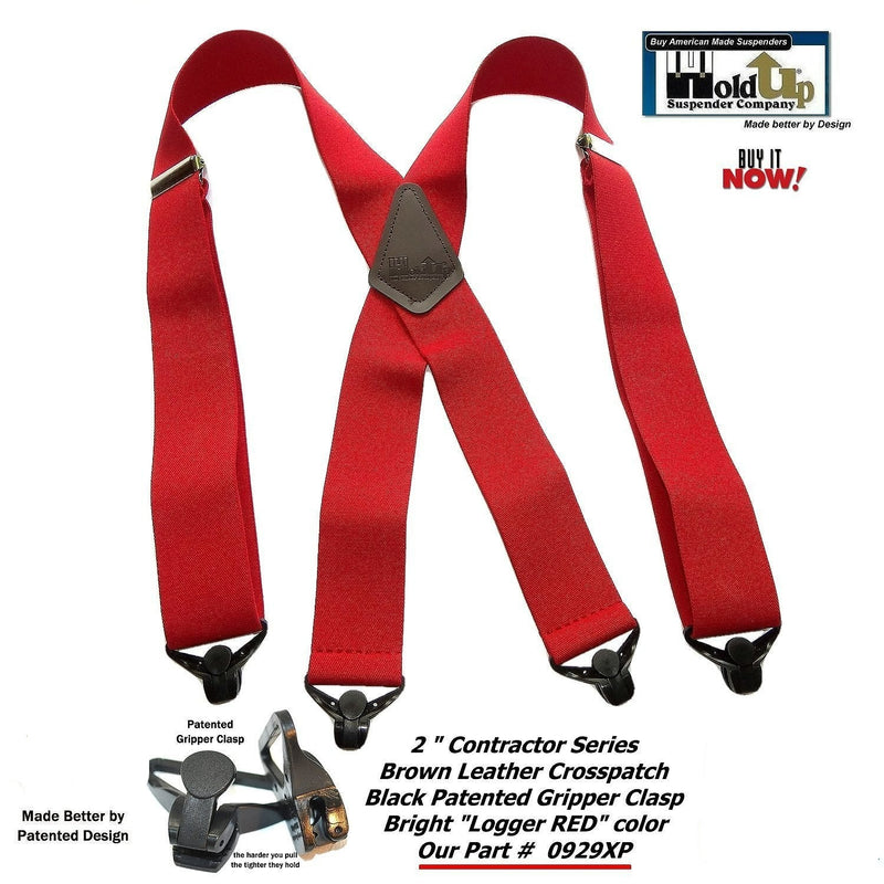 "Holdup Brand Heavy Duty Logger RED 2"" Wide Work Suspenders with Patented Gripper Clasps"