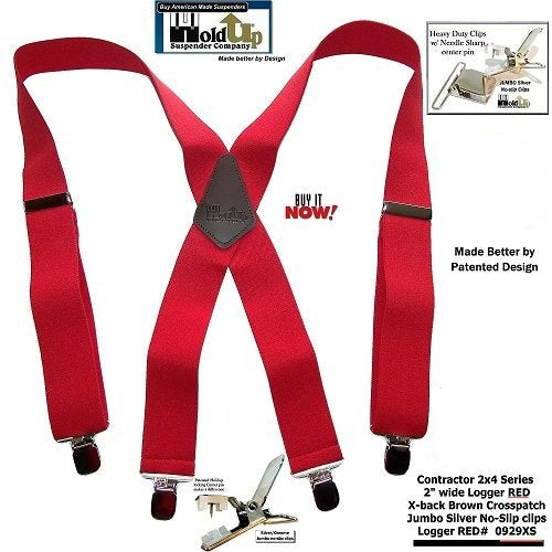 HoldUp Brand Heavy Duty Contractor Series Logger RED Wide Work Suspenders with Patented jumbo no-slip clips