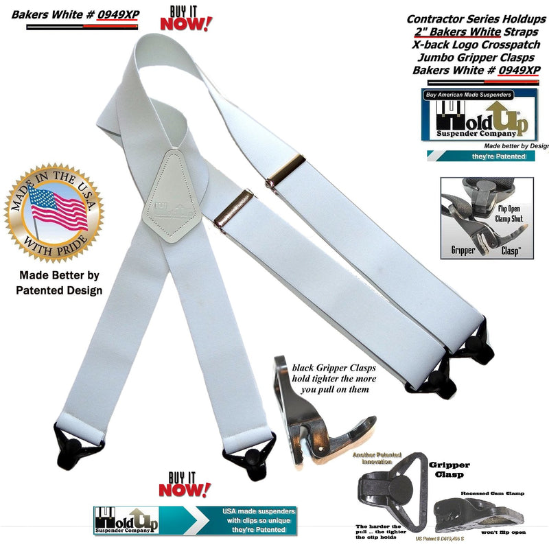 "Holdup Contractor Series Bakers White 2"" Wide Work Suspenders in X-back style with Patented Jumbo Gripper Clasps"