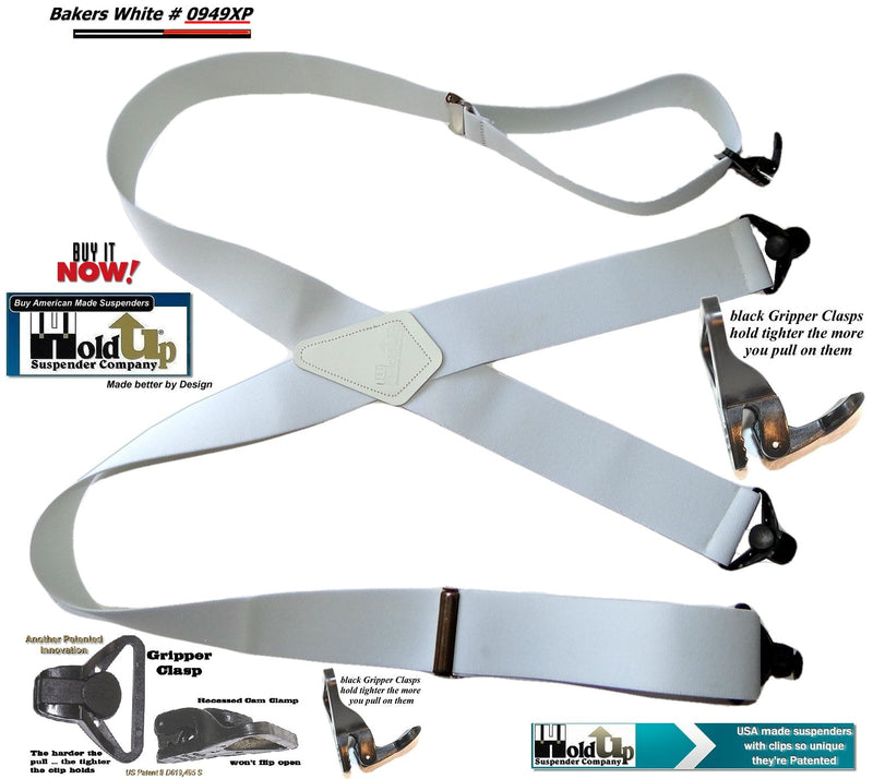 "Holdup Suspender Contractor Series Bakers White 2"" Wide Work Suspenders in X-back style with Patented Jumbo Gripper Clasps"