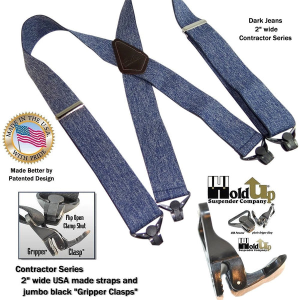 Holdup Brand Heavy Duty Dark Denim Work Suspenders with jumbo Patented Gripper Clasps